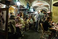France. Paris. Le marais. 4th district. PLe marais , place des Vosges , restaurant terrace under the arcades, ma bourgogne restaurant