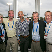 August 22, 2014, New Haven, CT:<br /> James Blake poses for a photograph with Yale University personnel on day eight of the 2014 Connecticut Open at the Yale University Tennis Center in New Haven, Connecticut Friday, August 22, 2014.<br /> (Photo by Billie Weiss/Connecticut Open)
