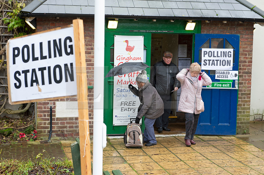 ©Licensed to London News Pictures 12/12/2019. <br /> Bromley ,UK. People battle against the wet weather to vote in the UK General Election at Hayes village hall, Hayes, Bromley, South East London. Photo credit: Grant Falvey/LNP