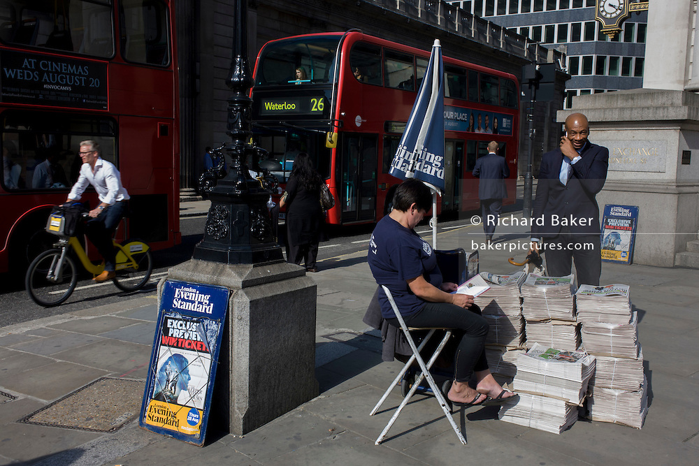 Evening Standard newspaper stand at Cornhill in the City of London.