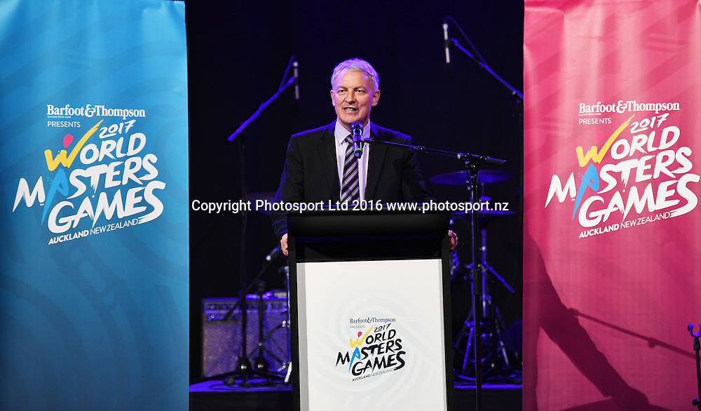 Auckland Mayor-elect Phil Goff. World Masters Games 2017. 6 months to go event concept and celebrations. WMG2017. The Cloud, Auckland, New Zealand, Thursday 20 October 2016. © Copyright photo: Andrew Cornaga / www.photosport.nz