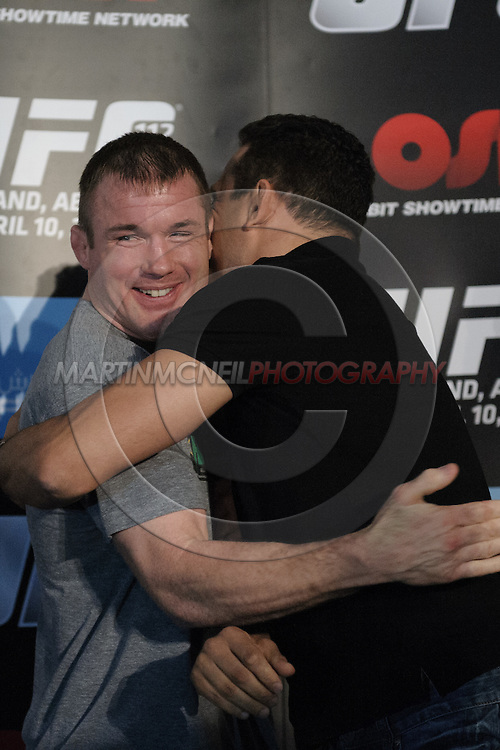 """ABU DHABI, UNITED ARAB EMIRATES, APRIL 7, 2010: Matt Hughes and Renzo Gracie are pictured during the pre-fight press conference for """"UFC 112: Invincible"""" at the Rotana Hotel in Abu Dhabi on April 7, 2010. (Martin McNeil)"""