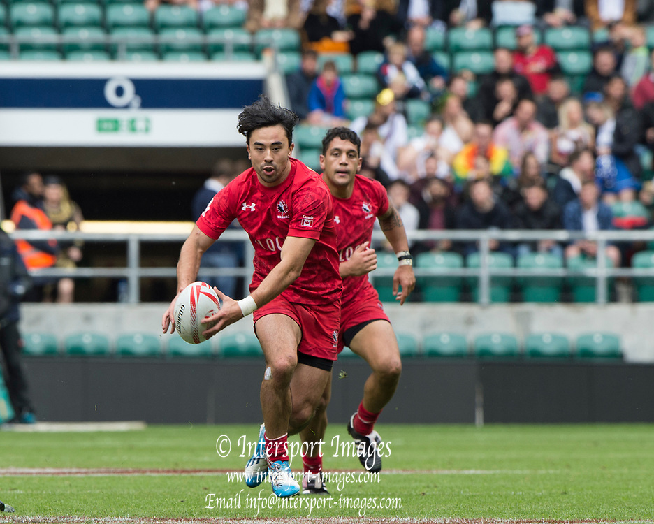 "Twickenham, Surrey United Kingdom. Canadian, Nathan HIRAYAMA, ins action during the Pool C match, Canada vs New Zealand at the  ""2017 HSBC London Rugby Sevens"",  Saturday 20/05/2017 RFU. Twickenham Stadium, England    <br /> <br /> [Mandatory Credit Peter SPURRIER/Intersport Images]"