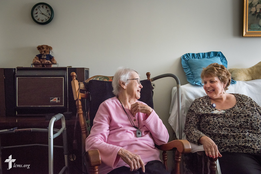 Chaplain Amy Upchurch visits with 92 year-old Lutheran Nelle Rolf at her home at Lutheran Senior Services, Rose Hill House, on Tuesday, Jan. 13, 2015, in Kirkwood, Mo. LCMS Communications/Erik M. Lunsford