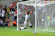 Swansea city's Wayne Routledge celebrates after he scores his sides 1st goal. Barclays Premier league, Swansea city v Sunderland at the Liberty Stadium in Swansea, South Wales on Saturday 1st Sept 2012. pic by Andrew Orchard, Andrew Orchard sports photography,
