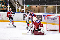 2019-11-23 | Umeå, Sweden:Teg (1) Arvid Stenmark taking care of the puck in  HockeyEttan Norra during the game  between Teg and Boden at A3 Arena ( Photo by: Michael Lundström | Swe Press Photo )<br /> <br /> Keywords: Umeå, Hockey, HockeyEttan Norra, A3 Arena, Teg, Boden, mltb191123