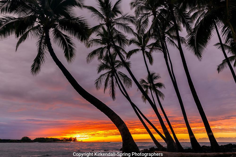 HI00463-00...HAWAI'I - Sunset over the Pacific Ocean from Kekaha Kai State Park along the Kona Coast on the island of Hawai'i.