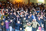 Dundee fans celebrate - Dundee v Rangers in the Ladbrokes Scottish Premiership at Dens Park, Dundee.Photo: David Young<br /> <br />  - &copy; David Young - www.davidyoungphoto.co.uk - email: davidyoungphoto@gmail.com