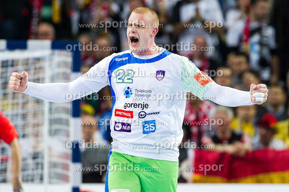 20.01.2016, Jahrhunderthalle, Breslau, POL, EHF Euro 2016, Deutschland vs Slowenien, Gruppe C, im Bild Matej Gaber (Nr. 22, Montpellier AHB) freut sich. // during the 2016 EHF Euro group C match between Germany and Slovenia at the Jahrhunderthalle in Breslau, Poland on 2016/01/20. EXPA Pictures &copy; 2016, PhotoCredit: EXPA/ Eibner-Pressefoto/ <br /> <br /> *****ATTENTION - OUT of GER*****