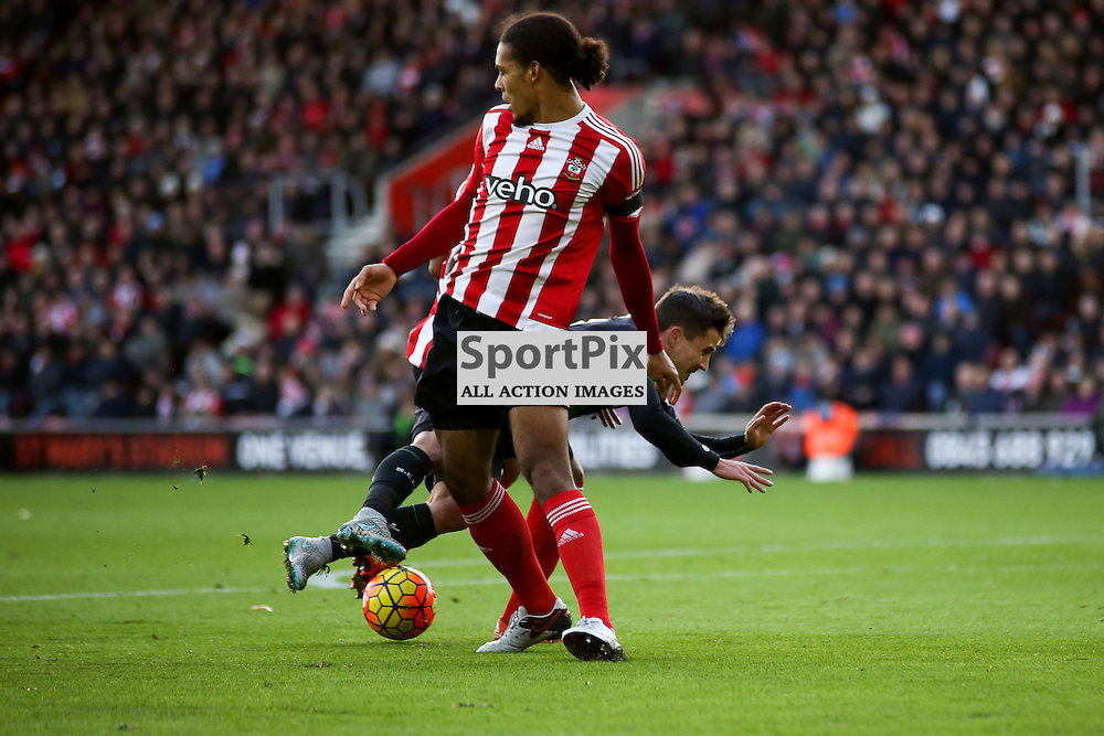 Virgil Van Dijk fouls Bojan During Southampton vs Stoke City on Saturday the 21st November 2015.