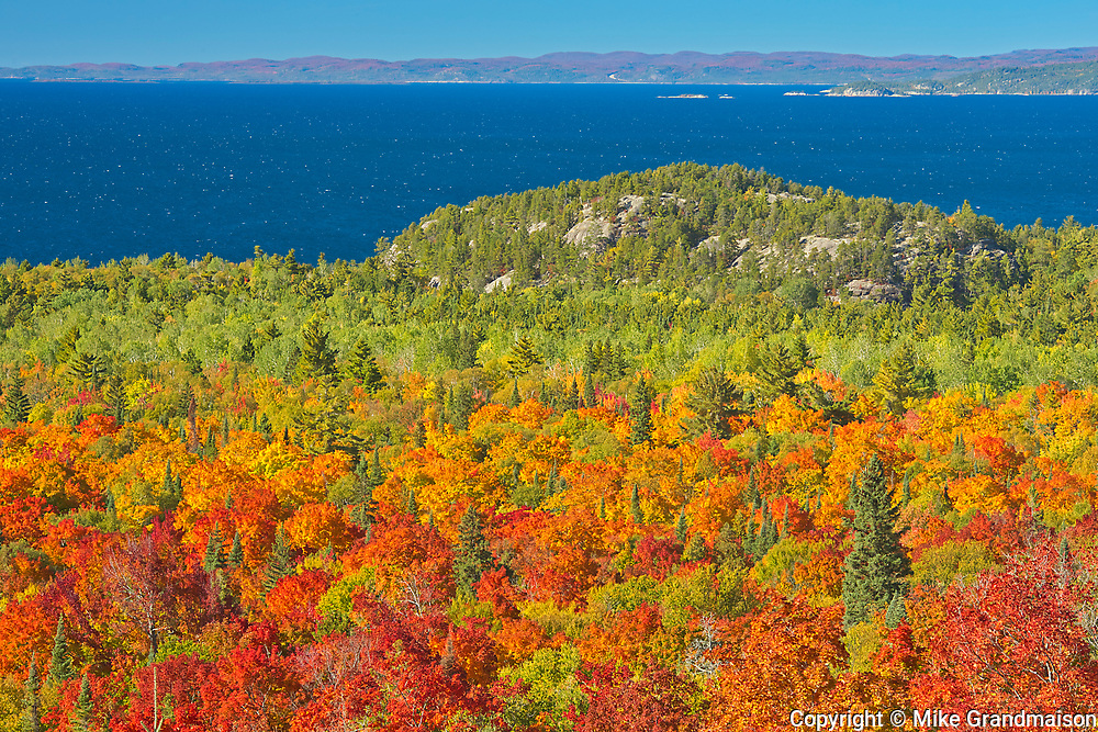 Autumn colored trees overlooking the Montreal River Harbour on Lake Superior<br />