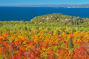 Autumn colored trees overlooking the Montreal River Harbour on Lake Superior<br />Lake Superior Provincial Park<br />Ontario<br />Canada