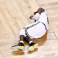 07 June 2012: Boston Celtics point guard Rajon Rondo (9) lays on the floor in pain during the Miami Heat 98-79 victory over the Boston Celtics, in Game 6 of the Eastern Conference Finals playoff series, at the TD Banknorth Garden, Boston, Massachusetts, USA.