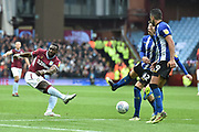 Aston Villa midfielder (on loan from Everton) Yannick Bolasie (11) takes a shot at goal during the EFL Sky Bet Championship match between Aston Villa and Sheffield Wednesday at Villa Park, Birmingham, England on 22 September 2018.