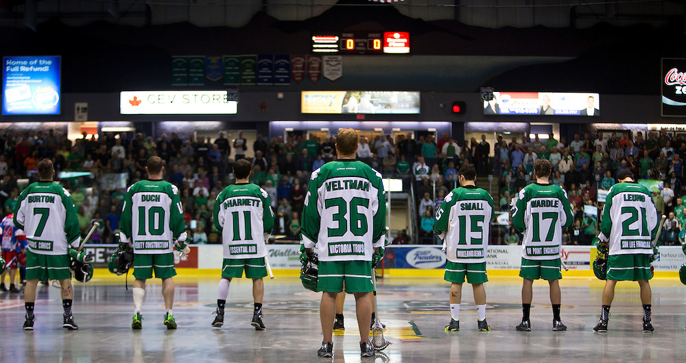 The Victoria Shamrocks beat the Peterborough Lakers 14-8 in game three of the Mann Cup series on September 7th, 2015  at the Q centre in Colwood B.C. Canada.<br /> <br /> Victoria leads the best of seven Canadian Lacrosse Championship series two game to one with game three scheduled for Tuesday September 8th, 2015.
