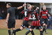 Deanna Cooper celebrates with Sophie Perry after her equaliser during the Women's FA Cup match between Watford Ladies FC and Brighton Ladies at the Broadwater Stadium, Berkhampstead, United Kingdom on 1 February 2015. Photo by Stuart Butcher.