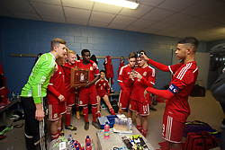 BALLYMENA, NORTHERN IRELAND - Thursday, November 20, 2014: Wales' captain Tyler Roberts takes a photo of his team-mates the dressing room after beating Northern Ireland 2-0 during the Under-16's Victory Shield International match at the Ballymena Showgrounds. (Pic by David Rawcliffe/Propaganda)