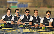 """Putney, Great Britain,  Shirts, left to right Robin EJSMOND-FREY, 2. Martin WALSH, 3. Ben SMITH, 4. Oliver MOORE, 5. Andrew WRIGHT, during the Oxford University Trial Eights, between """"Shirts and Skins"""". Raced over the championship course Putney to Mortlake. 12/12/2007 [Mandatory Credit Peter Spurrier/Intersport Images] Varsity Boat Race, Rowing Course: River Thames, Championship course, Putney to Mortlake 4.25 Miles,"""