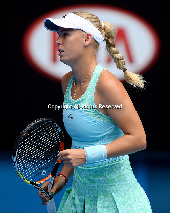 Caroline Wozniacki (DEN) during the 1st round of play<br /> 2015 Australian Open Tennis / Day 2<br /> Grand Slam of Asia Pacific<br /> Melbourne Park, Vic Australia<br /> Tuesday 20 January 2015<br /> &copy; Sport the library / Jeff Crow