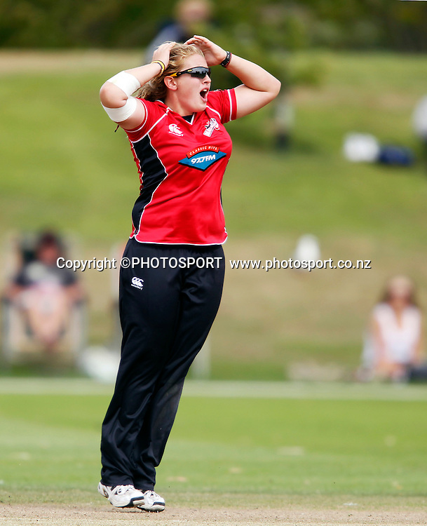 Frances McKay during her bowling spell. Canterbury Magicians v Wellington Blaze in the Action Cricket Cup Final. Women's Cricket. QEII Park, Christchurch, New Zealand. Sunday, 30 January 2011. Joseph Johnson / PHOTOSPORT.
