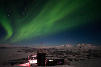 Northern Lights over Abisko National Park and Aurora Sky Station, Swedish Lapland
