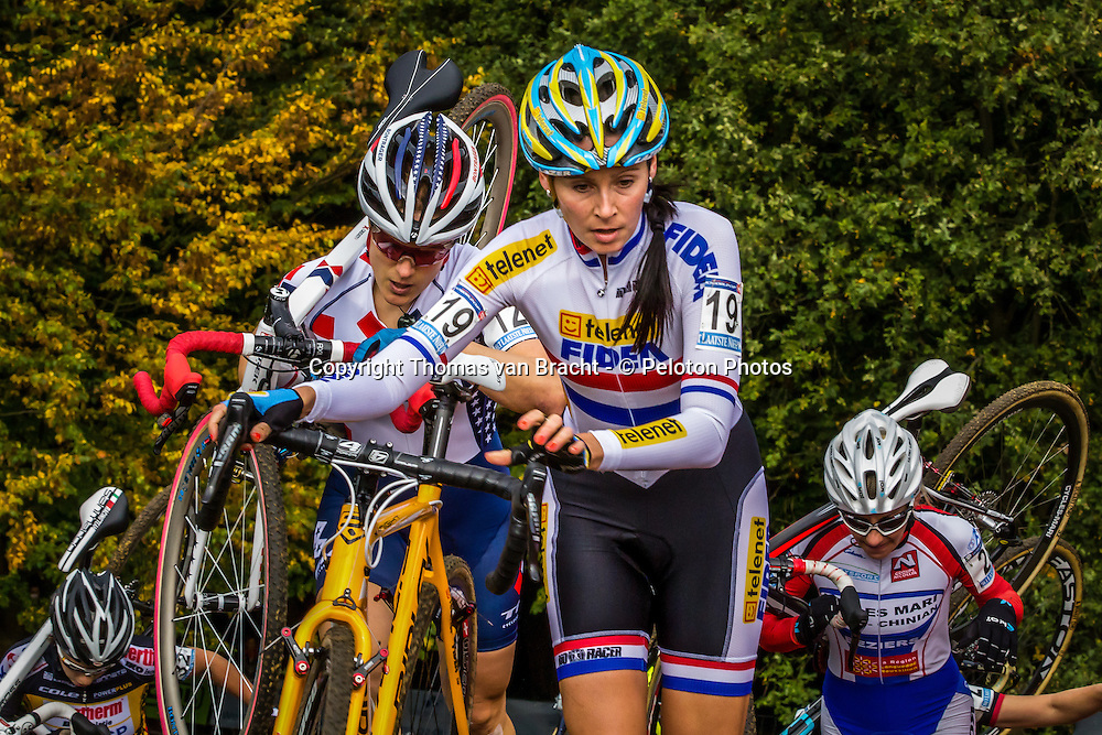 Nikki HARRIS (GBR) of Telenet Fidea infront of COMPTON at the 1st Cyclo-cross World Cup stage - Valkenburg, Netherlands - 20th October 2013 - Photo by Thomas van Bracht / Peloton Photos