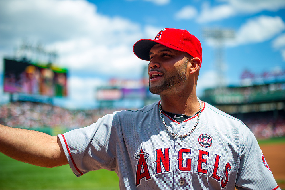 BOSTON, MA - JUNE 09: Albert Pujols #5 of the Los Angeles Angels looks on during the game against the Boston Red Sox at Fenway Park in Boston, Massachusetts on June 9, 2013. (Photo by Rob Tringali) *** Local Caption *** Albert Pujols