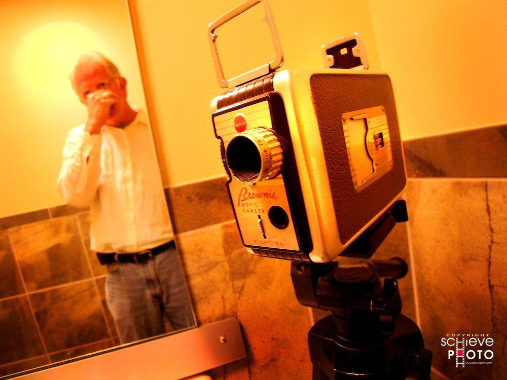 A Bell & Howell in the bathroom.