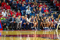 NORMAL, IL - November 06: Jeb Hartness takes a position in front of the Bruins bench during a college basketball game between the ISU Redbirds and the Belmont Bruins on November 06 2019 at Redbird Arena in Normal, IL. (Photo by Alan Look)