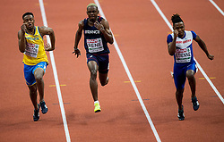 Austin Hamilton of Sweden, Marvin Rene of France, Theo Etienne of Great Britain compete in the 60m Men heats on day two of the 2017 European Athletics Indoor Championships at the Kombank Arena on March 4, 2017 in Belgrade, Serbia. Photo by Vid Ponikvar / Sportida