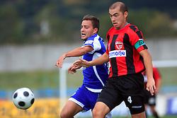 Tim Lo Duca (17) of Nafta and Vladimir Ostojic (4) of Primorje at 12th Round of PrvaLiga Telekom Slovenije between NK Primorje vs NK Nafta Lendava, on October 5, 2008, in Town stadium in Ajdovscina. Nafta won the match 2:1. (Photo by Vid Ponikvar / Sportal Images)