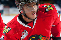 KELOWNA, CANADA - APRIL 25: Keegan Iverson #13 of the Portland Winterhawks warms up against the Kelowna Rockets on April 25, 2014 during Game 5 of the third round of WHL Playoffs at Prospera Place in Kelowna, British Columbia, Canada. The Portland Winterhawks won 7 - 3 and took the Western Conference Championship for the fourth year in a row earning them a place in the WHL final.  (Photo by Marissa Baecker/Getty Images)  *** Local Caption *** Keegan Iverson;
