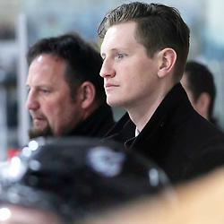 TRENTON, ON  - MAY 5,  2017: Canadian Junior Hockey League, Central Canadian Jr. &quot;A&quot; Championship. The Dudley Hewitt Cup. Game 7 between The Georgetown Raiders and The Powassan Voodoos. Georgetown Raiders Assistant Coach Jesse Chidwick during the third period <br /> (Photo by Amy Deroche / OJHL Images)