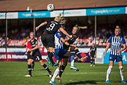 Ellie Brazil (Brighton) sandwiched between Bethany England (Chelsea) & Magdalena Eriksson (Capt)(Chelsea) during the FA Women's Super League match between Brighton and Hove Albion Women and Chelsea at The People's Pension Stadium, Crawley, England on 15 September 2019.