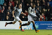 Coventry City Forward Duckens Nazon removes his shirt to celebrates as he scores a goal 1-2 during the EFL Sky Bet League 2 match between Lincoln City and Coventry City at Sincil Bank, Lincoln, United Kingdom on 18 November 2017. Photo by Craig Zadoroznyj.