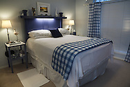 Bedroom with custom headboard and nightstands made by my father.