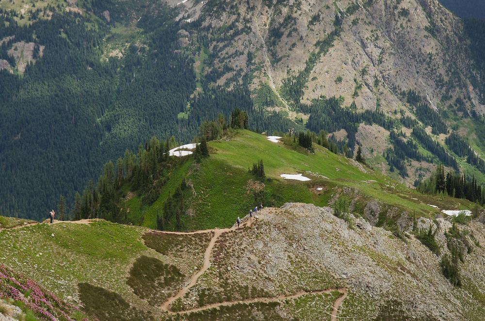 Hikers on Maple Pass Trail, North Cascades Washington