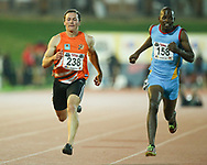 JOHANNESBURG, SOUTH AFRICA - MARCH 22: Rudolf Erasmus and Mlandvo Shongwe of Swaziland in the mens 100m C race during the ASA Speed Series 4 at Germiston Stadium on March 22, 2017 in Johannesburg, South Africa. (Photo by Roger Sedres/ImageSA)