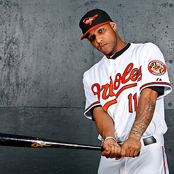 February 26, 2011; Sarasota, FL, USA; Baltimore Orioles shortstop Robert Andino (11) poses during photo day at Ed Smith Stadium.  Mandatory Credit: Derick E. Hingle