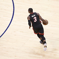 14 June 2012: Miami Heat shooting guard Dwyane Wade (3) is seen dribbling during the Miami Heat 100-96 victory over the Oklahoma City Thunder, in Game 2 of the 2012 NBA Finals, at the Chesapeake Energy Arena, Oklahoma City, Oklahoma, USA.
