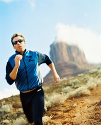 Jogger running on a mountain in Utah