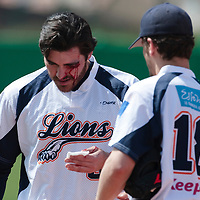 18 April 2010: Tim Stewart of Savigny is seen as he hurts himself on a catch against the green wall on left field during game 1/week 2 of the French Elite season won 8-1 by Savigny (Lions) over Senart (Templiers), at Parc municipal des sports Jean Moulin in Savigny-sur-Orge, France.