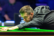 Mark Selby takes the opening frame in the Quarter Final  between Ronnie O'Sullivan vs Mark Selby during the 19.com Home Nations Scottish Open at the Emirates Arena, Glasgow, Scotland on 13 December 2019.