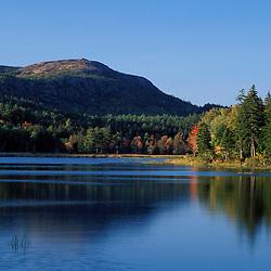 Acadia N.P., ME. New England Fall. Little Long Pond. Penobscot Mtn.