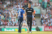 New Zealand Tim Southee smiles at England Eoin Morgan during the Royal London One Day International match between England and New Zealand at the Oval, London, United Kingdom on 12 June 2015. Photo by Phil Duncan.