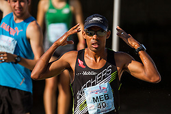 Meb Keflezighi gets his game face on on a hot and humid day for racing