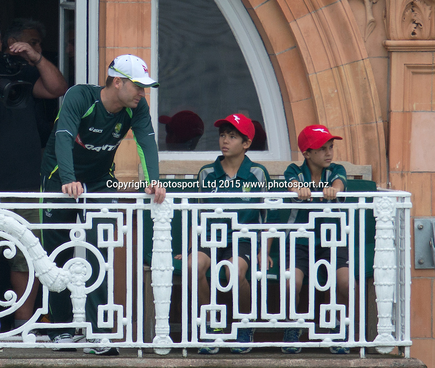 No, the Australian team isn't getting younger, just captain Michael Clarke showing a couple of competition winners the dressing room balcony during net practice on the eve of the 2nd Investec Test Match between England and Australia at Lord's Cricket Ground, London. Photo: Graham Morris (Tel: +44(0)20 8969 4192 Email: sales@cricketpix.com) 14/07/15