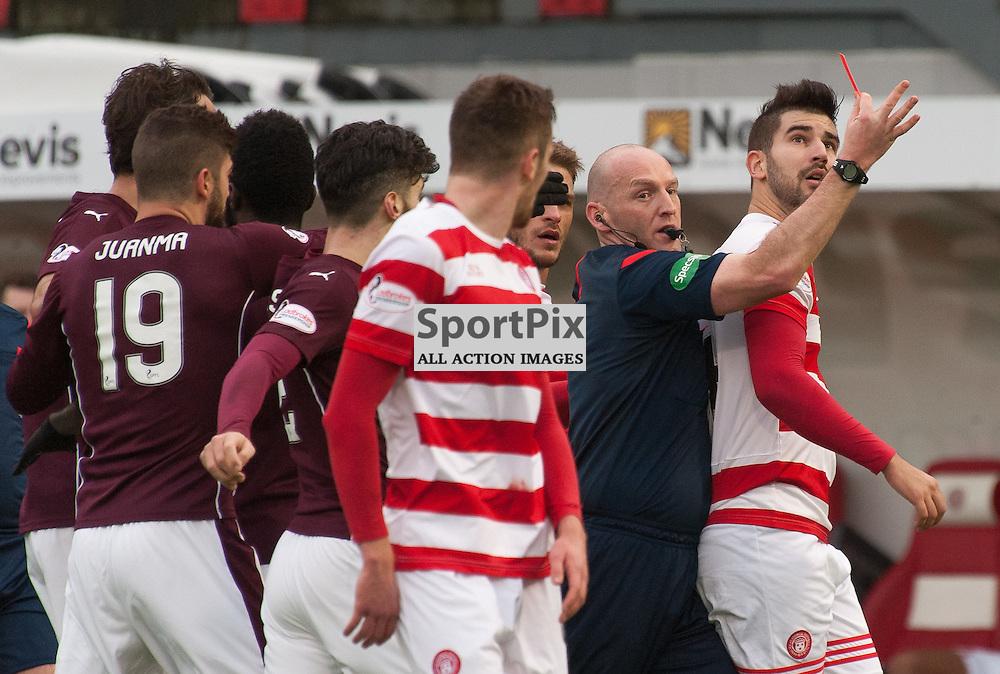 Referee Bobby Madden shows #24 Jesus Garcia Tena (Hamilton Academical) the red card • Hamilton Academical v Heart of Midlothian • Ladbrokes Premiership • 24 January 2016• © Russel Hutcheson | SportPix.org.uk