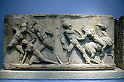 Greek soldiers fighting Amazons. Relief.