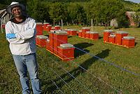 Prize winning bee keeper Sanjin Zarkovic at his bee farm in Melnice, Velebit Nature Park, Rewilding Europe rewilding area, Velebit  mountains, Croatia